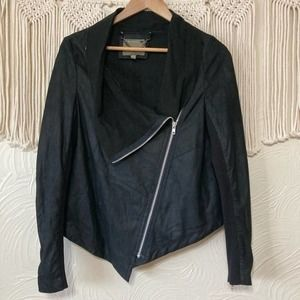 Muubaa Goat Leather Black Moto Jacket